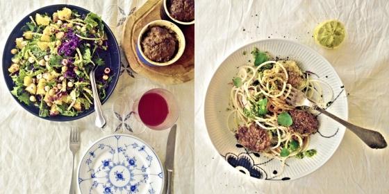 Morgenmad: Dejlig farvestrålende kålsalat med masser af gode sager og nybagt leverpostej på siden. Aftensmad: Grøntsagsspaghetti med pesto og fiskefrikadeller. Og så lige en pause på 16 timer før jeg spiser igen. Periodisk faste virker for mig.